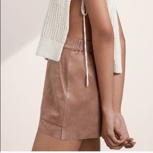 Aritzia Wilfred Tan Suede High Waisted Shorts